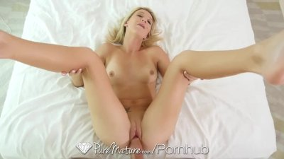 PureMature - Blonde Laura Bentley creampied in reverse cowgirl