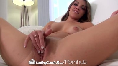 CastingCouch-X - Amateur brunette Tracy Moore gets an eye full of cum