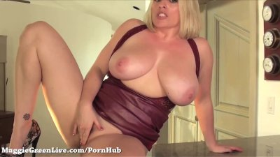 All Natural Busty Blonde Maggie Green gets off in Lingerie!