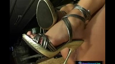 Sensual blonde Dorothy Black plugs a dildo into her delectable clit