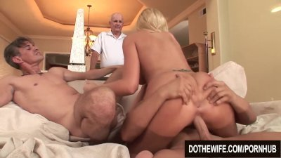 Blonde wife fucks 2 guys and great facial