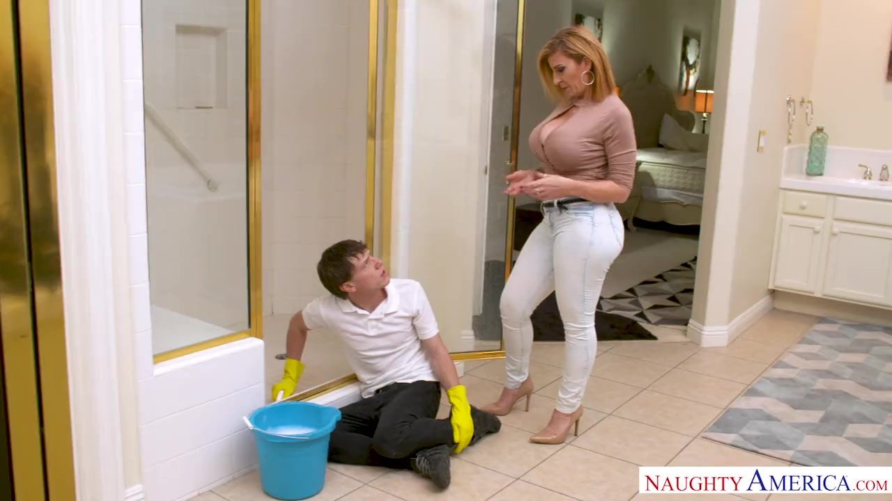 Preview 2 of Milf Sara Jay Punishes Her Son's Friend With Her Pussy!