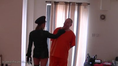 Mistress face sits on slave for smell of pussy and leather then spanks ass
