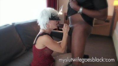 white wife Alexia Thomas first meet with big black cock to suck