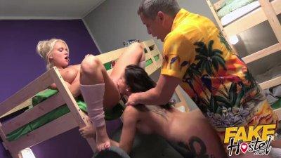 Fake Hostel - Horny blonde Italian and brunette Russian girls fucked hard