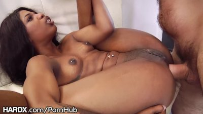 Barely Legal Ebony Booty Gets Rough Fucked By Big Daddy
