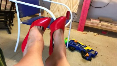 Red High Heel Pumps Shoe Play and Dangling - Pretty Feet Fetish - Long Toes
