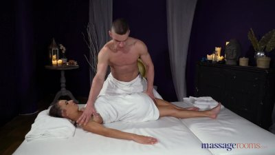 Massage Rooms Big tits brunette Russian Sandra Wellness hot oil fuck