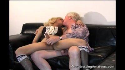 Blonde sissy has fun with a Grandpa