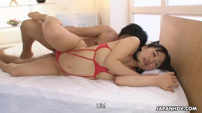 Petite babe Yui Kyouno sucks hairy dick and gets doggy styled