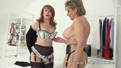 Lady Sonia and Red XXX striptease fun