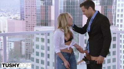 TUSHY Tiny Blonde Has Insane Anal Sex On Work Trip