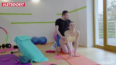 LETSDOEIT - Horny Petite Brunette Seduces and Fucks Stranger at the Gym