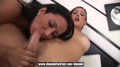 Shemales fucks guy and girl in a hot threesome - Shemale Fuck Fest