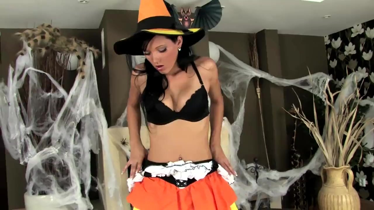 Sexy babe teasing and fingering in fishnets and panties for Halloween