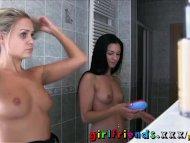 Girlfriends Hot babes make steamy bathroom sextape