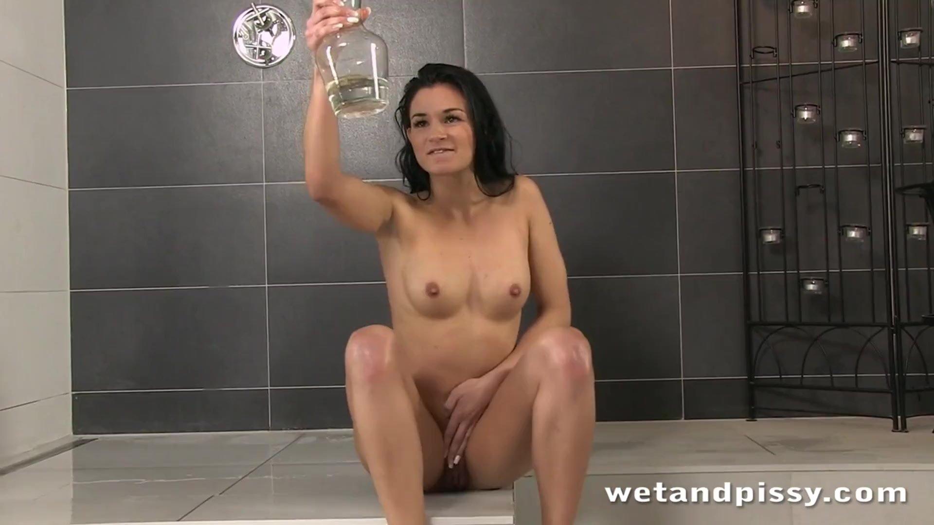 Sexy brunette honey taking a sexy bath