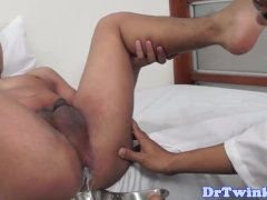 Ethnic twink bareback drilled after enema