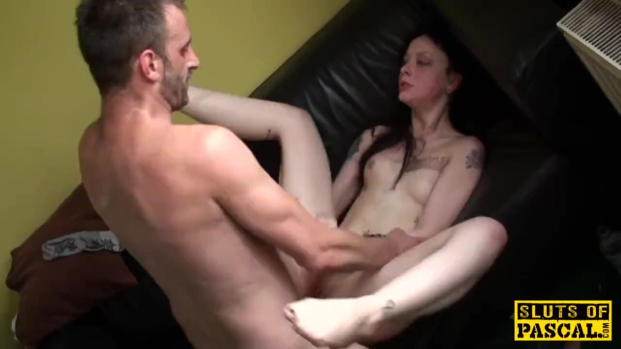 Inked sub fucked roughly after deepthroating