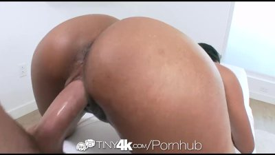 Tiny4k - Ebony Katalina Mills gets a messy oiled massage fuck