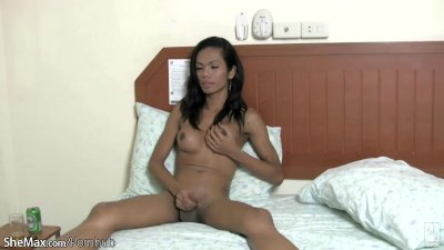 Ebony ladyboy with delicious bigtits jerks off till cumshot