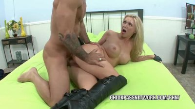Busty slut Dylan Riley in black boots and taking dick