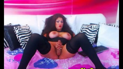 Voluptuous Shemale Plays with Her Big Tits and Cock