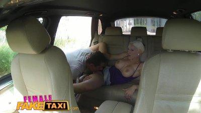 FemaleFakeTaxi Big tits blonde cabbie milf fucks young stud on backseat