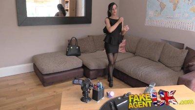 FakeAgentUK Exotic porn excites sexy petite UK escort into trying casting