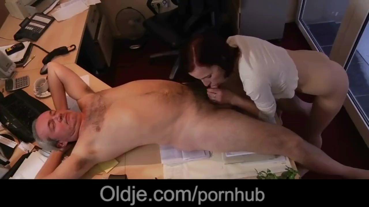 Horny young secretary fucking old boss deepthroat swallowing cumshot
