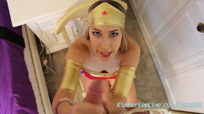 Kimber Lee Wonder Woman Handcuffed Handjob!