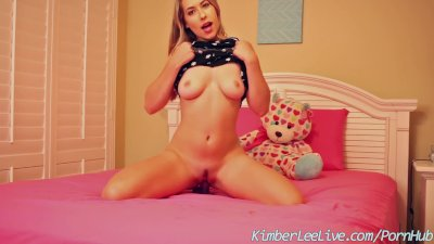 Busty Teen Kimber Lee Shakes Her Ass and Rides on Dildo!