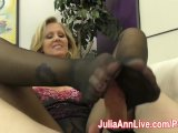 milf julia ann makes slave cum on her stockings from footjob!3gp Porn Videos