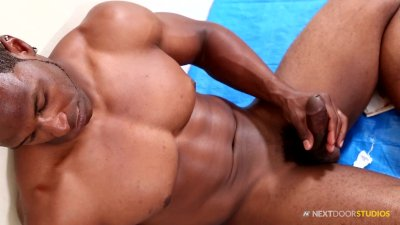 NextDoorEbony Black Hunk Jerks Beautiful Cock