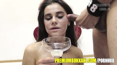 Premium Bukkake - Mary swallows 88 huge mouthful cum loads