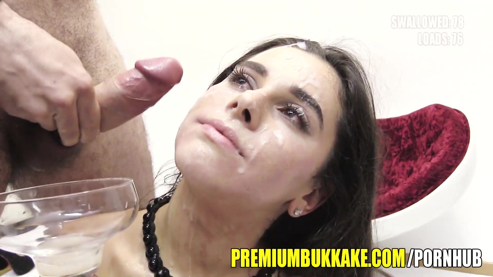 Premium Bukkake - Mary swallows 88 huge mouthful cum loads