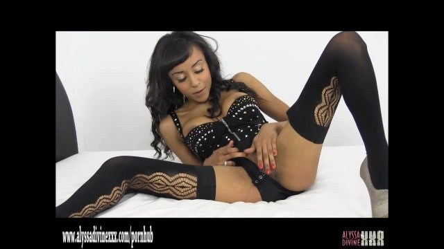 Hot ebony babe plays with juicy pussy then fucks herself hard with big toy
