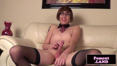 Kinky slender spex femboy wanks and toys ass