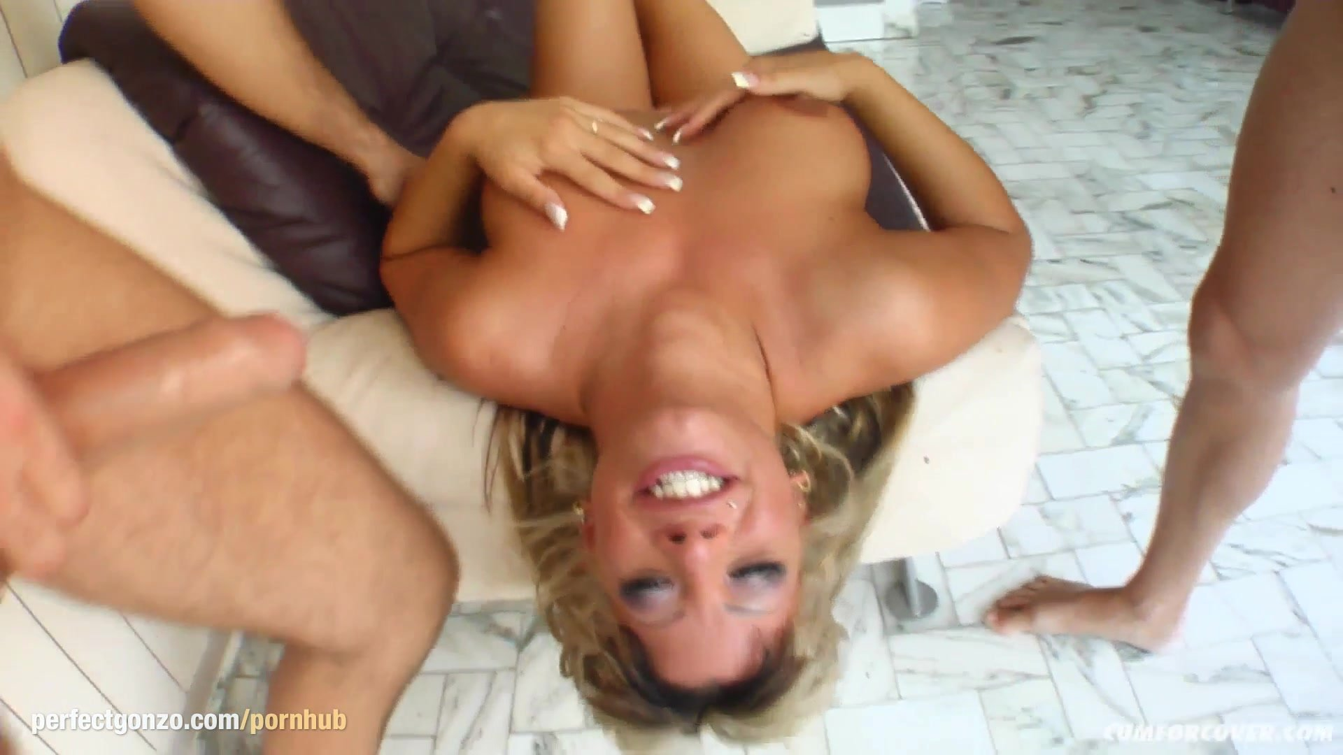 Sandra in group bukkake blowbang action from Cum For Cover