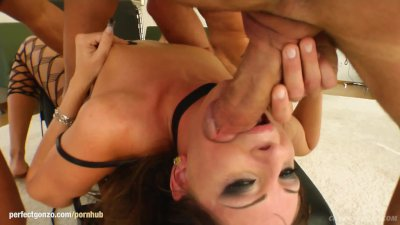Gabriella Mai in group bukkake blowbang action from Cum For Cover