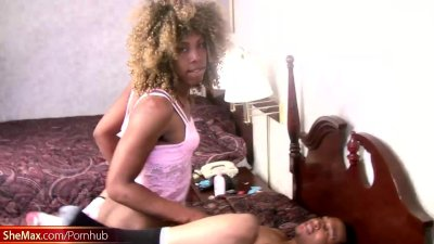 Black t-girl gets fucked from behind before messy cumload