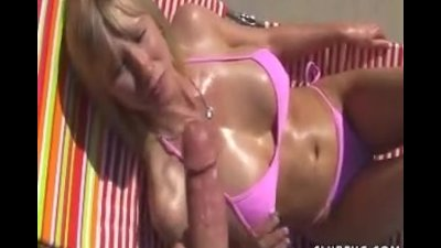 Blonde milf bikini handjob