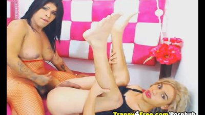 Super Hot Tranny Duo Enjoys Anal Fuck