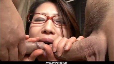 Mizuki Ogawa gets over sized cock to shag her furry holes