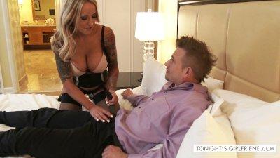 Pornstar Alexia Voisse in lingerie satisfies a client- Tonight's Girlfriend