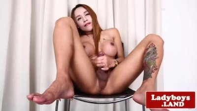 Busty lingeried ladyboy tease and jerks solo