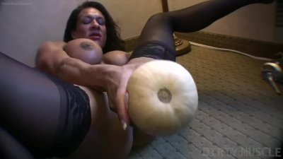 Naked Female Bodybuilder Fucks Herself with a Gourd!