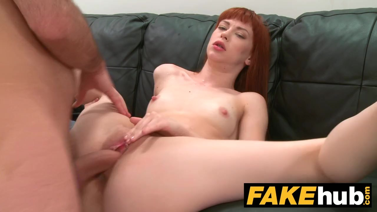 Fake Agent Creampie for new Redhead American model who loves to fuck