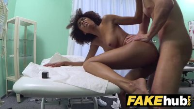 Fake Hospital Doctor gives sexy ebony Brazilian student a hard fucking