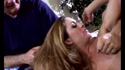 Blonde Housewife Swings Outside With A Stranger